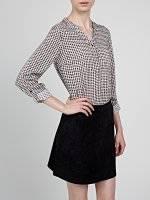 Heart print gingham blouse
