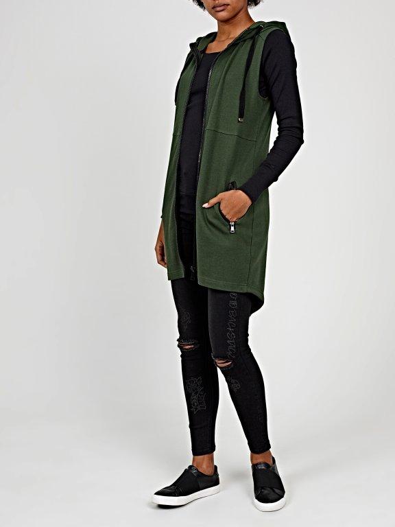 Longline zip-up sleeveless hoodie