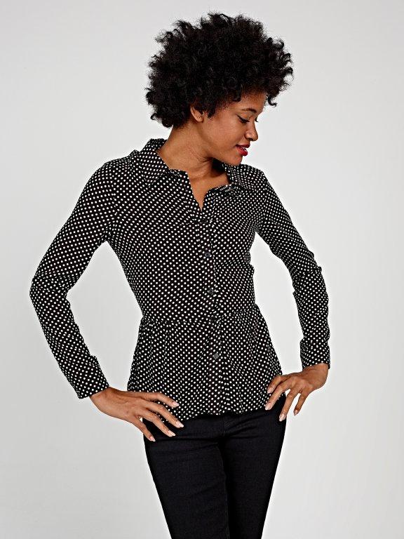 Polka dot peplum blouse with belt