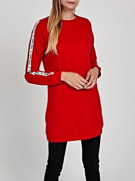 Longline sweatshirt with printed tape