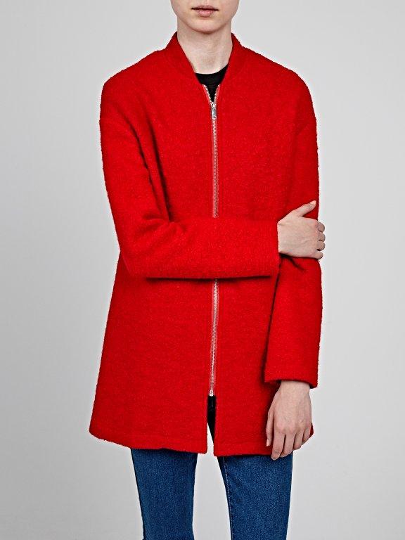 Zip-up coat in wool blend