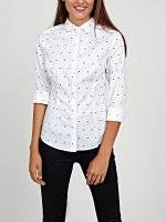 Polka dot print stretch shirt