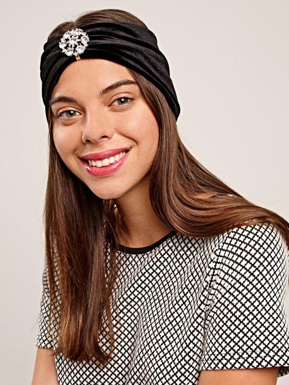 Velvet headband with stone emblishment
