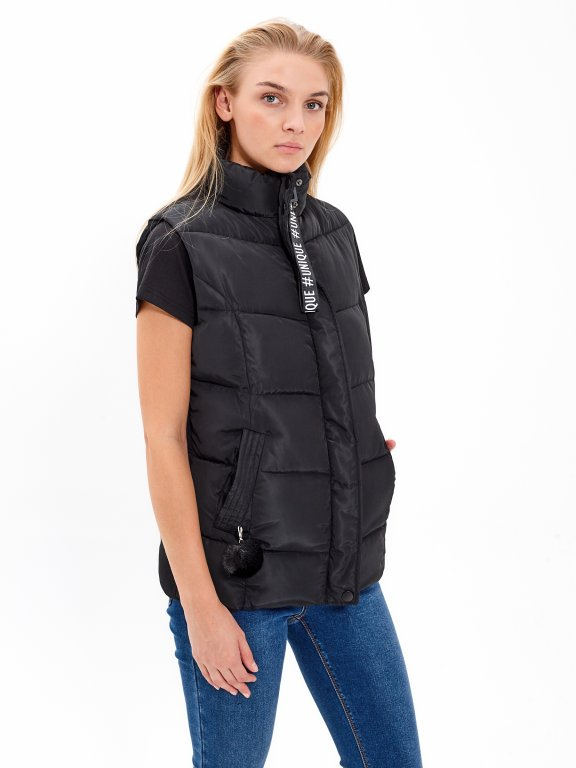 Quilted padded vest with pom-pom detail