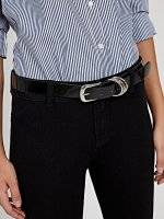 Glossy belt with silver buckle