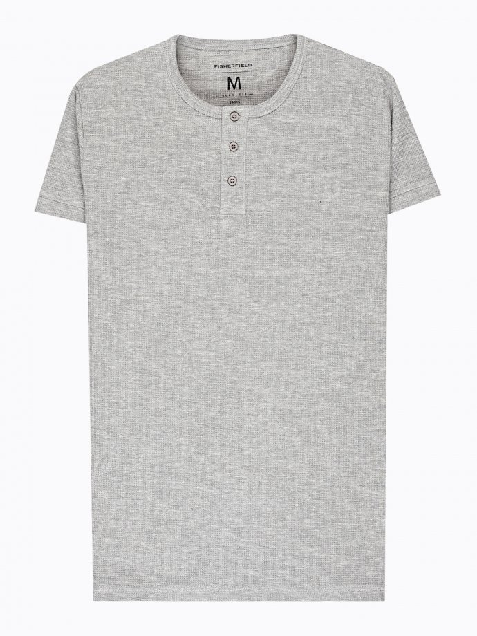 WAFFLE-KNIT HENLEY WITH SHORT SLEEVE