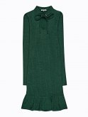 Rib-knit dress with ruffle hem and front lacing