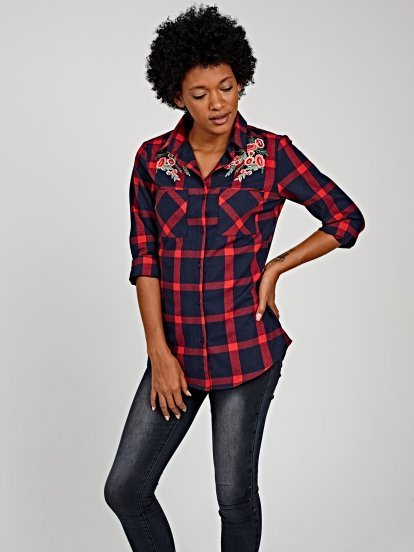 Plaid shirt with floral embroidery