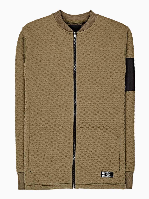 Quilted zip-up sweatshirt