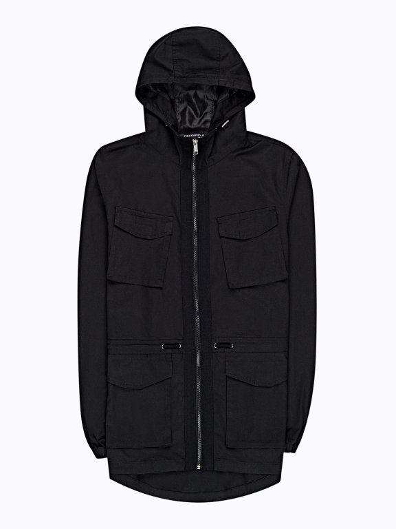 Hooded jacket with pockets