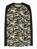 CAMO PRINT T-SHIRT WITH CONTRAST SLEEVE