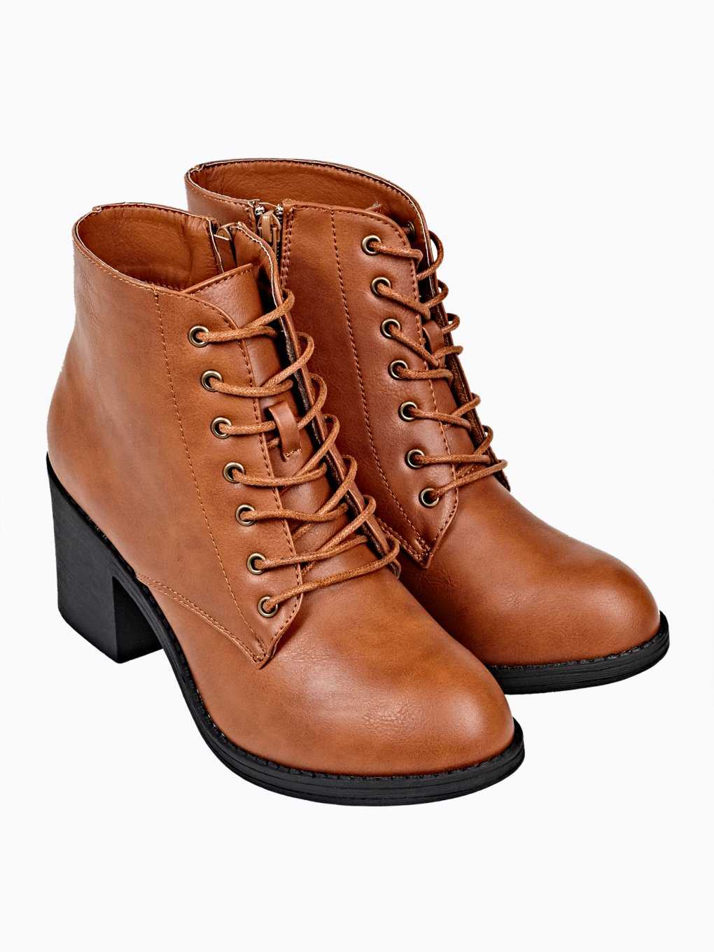 High heel lace-up ankle boots