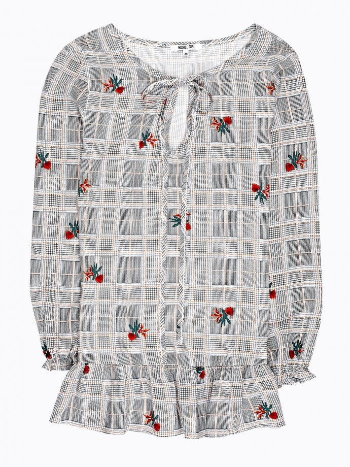 Printed peplum blouse with flower embroidery