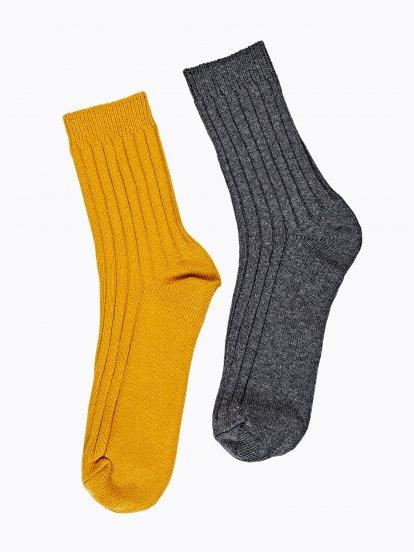 2-pack ribbed crew socks
