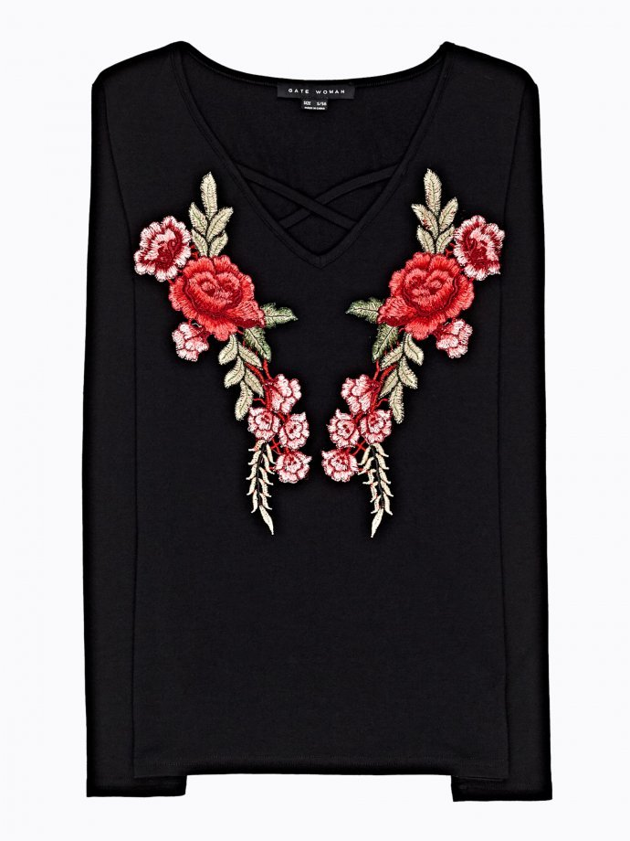 EMBROIDERED TOP WITH FRONT LACING