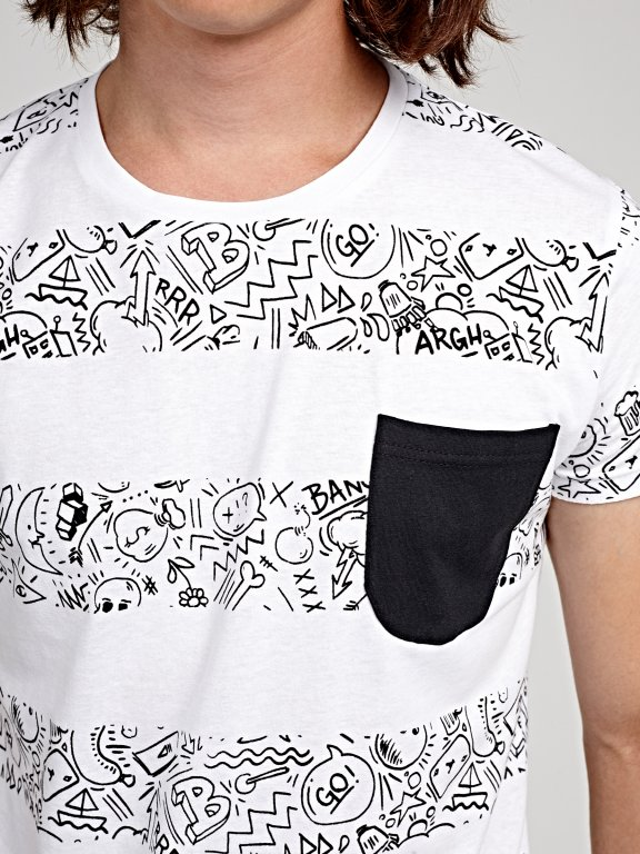 Printed t-shirt with contrast chest pocket