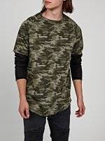 Layered camo print sweatshirt