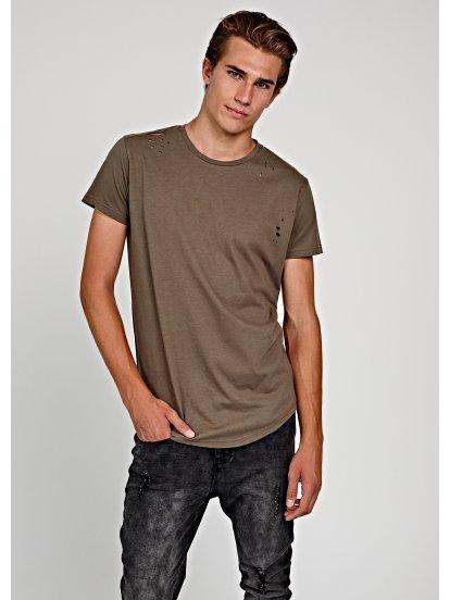 Distressed longline t-shirt