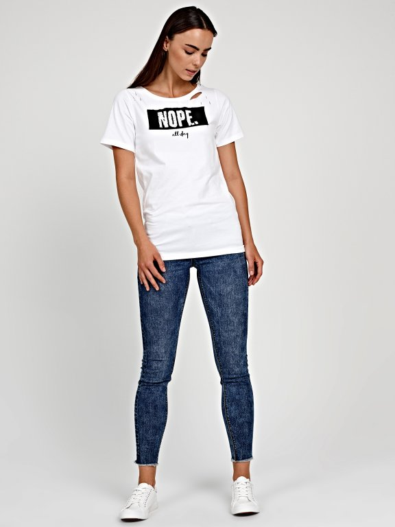 DISTRESSED T-SHIRT WITH PRINT & PATCH