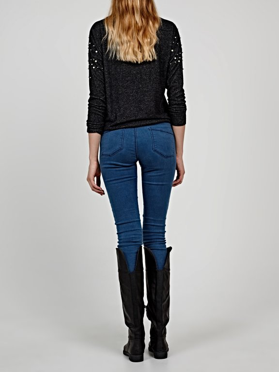 Marled jumper with pearls