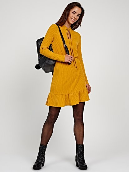 Rib-knit dress with ruffle hem and front lacing