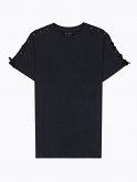 Longline t-shirt with sleeve lacing