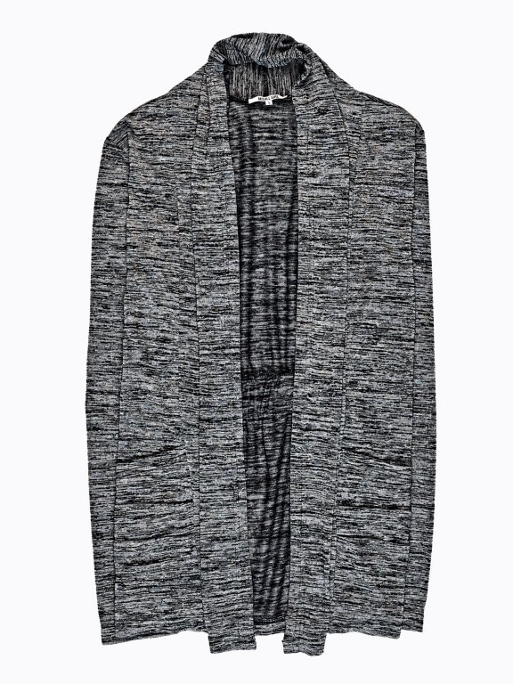 Marled cardigan with frilled back