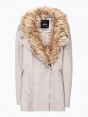 Longline biker jacket with removable faux fur collar