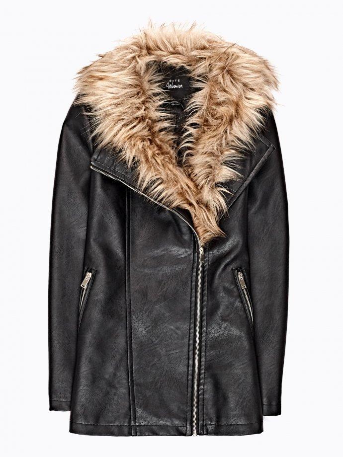 Longline biker jacket with removable faux fur collar