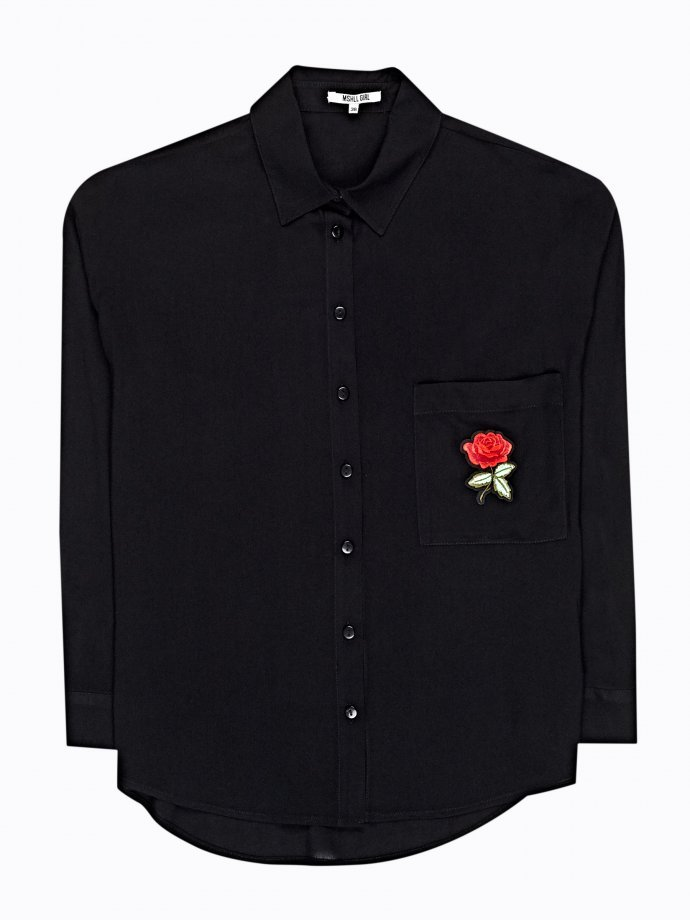 VISCOSE SHIRT WITH ROSE PATCH