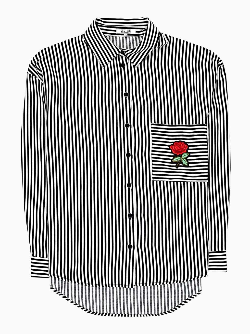 STRIPED SHIRT WITH FLORAL PATCH
