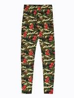 Camo & roses print leggings