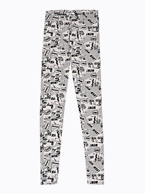 Pop-art comic print leggings