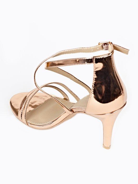 High heel metallic sandals