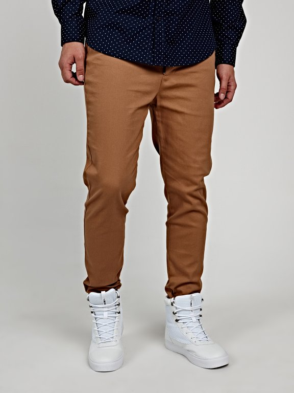 STRETCH CHINO TROUSERS WITH BELT