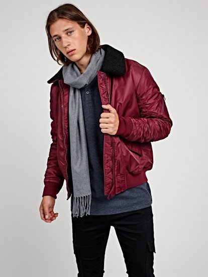 Light padded bomber jacket with sherpa collar