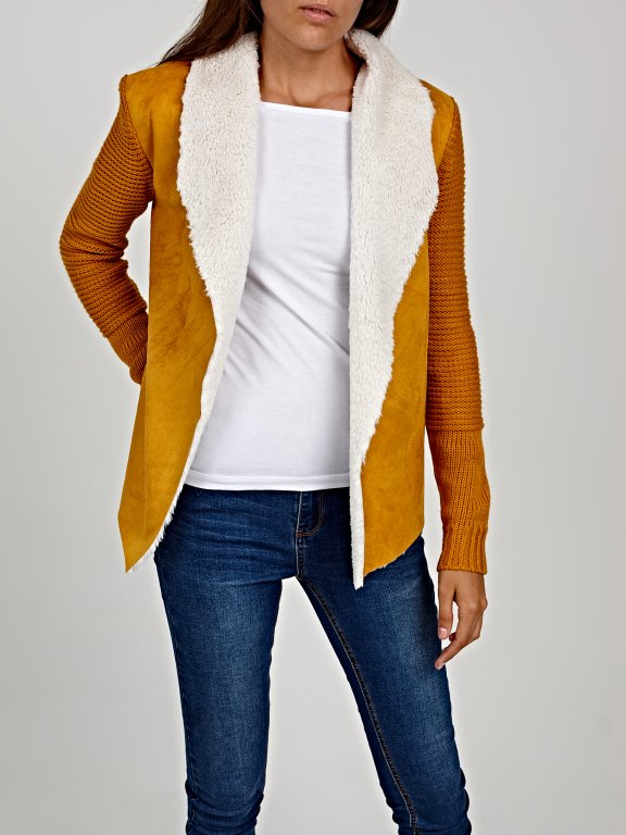 Pile lined combined cardigan