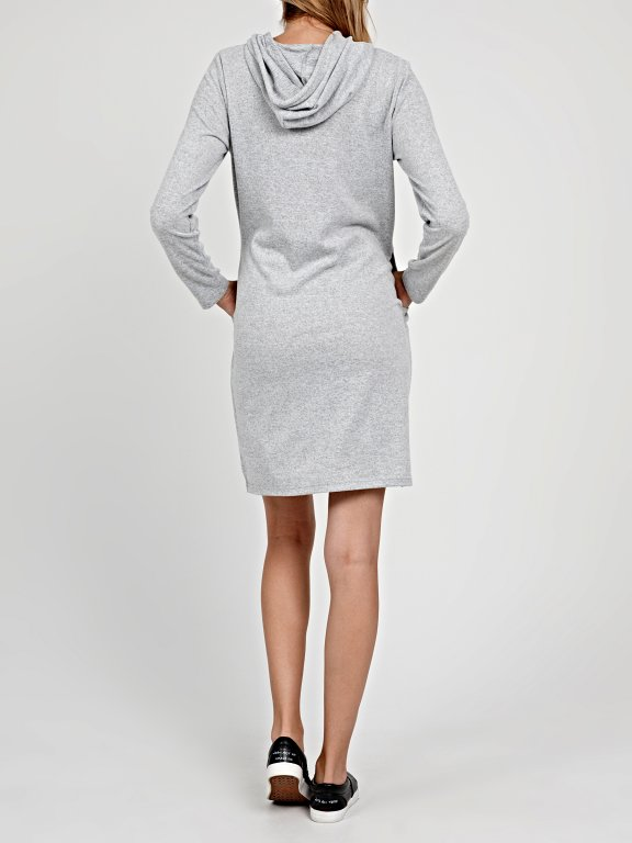 HOODED KNIT DRESS WITH SIDE POCKETS