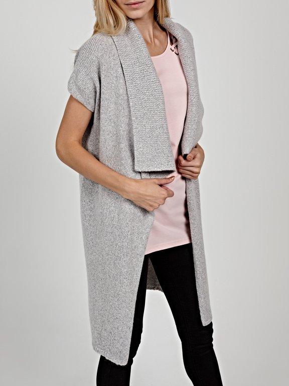 Longline knitted waistcoat in wool blend