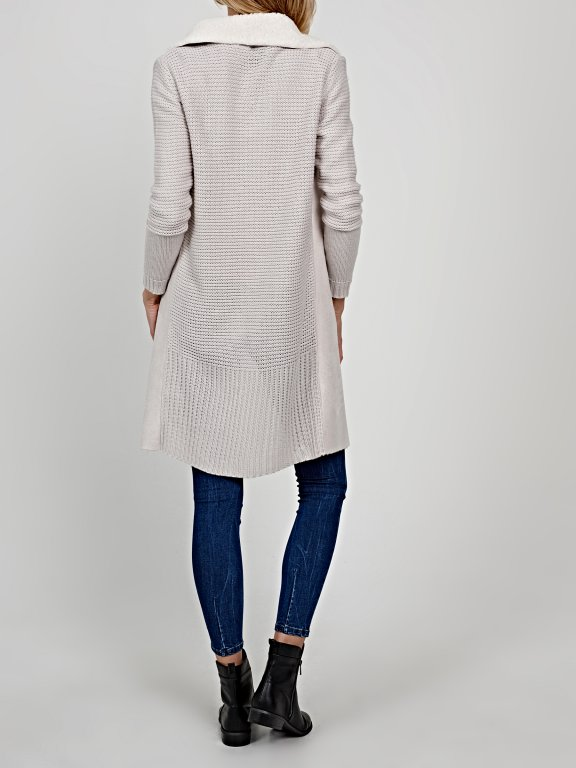 Longline pile lined combined cardigan