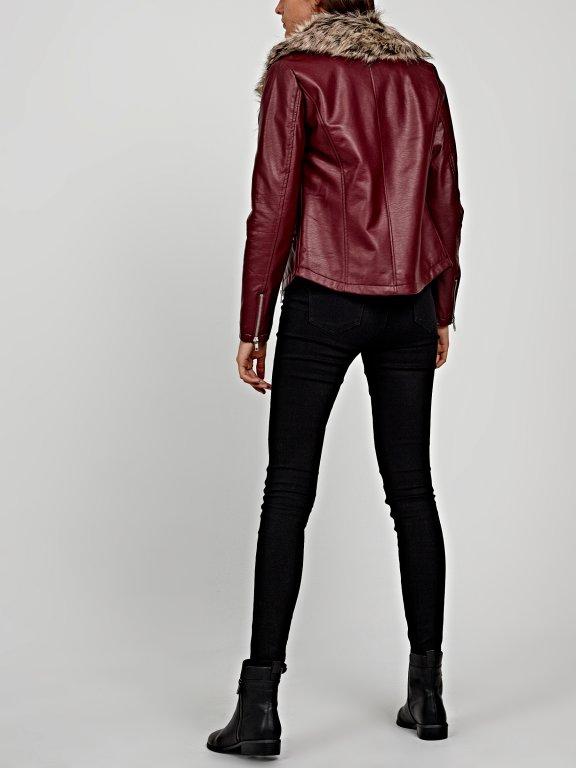 Biker jacket with removable fur collar