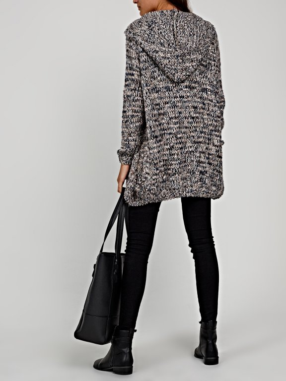 Marled cardigan hood
