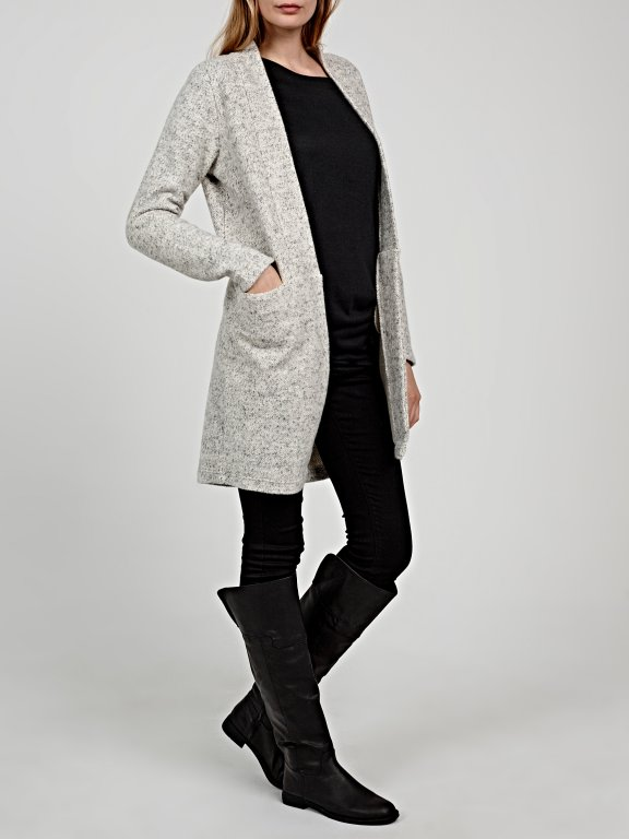 Longline marled plain blazer with pockets