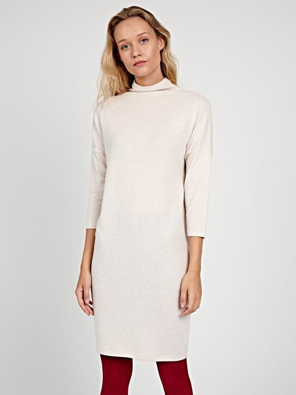 KNIT DRESS WITH HIGH COLLAR