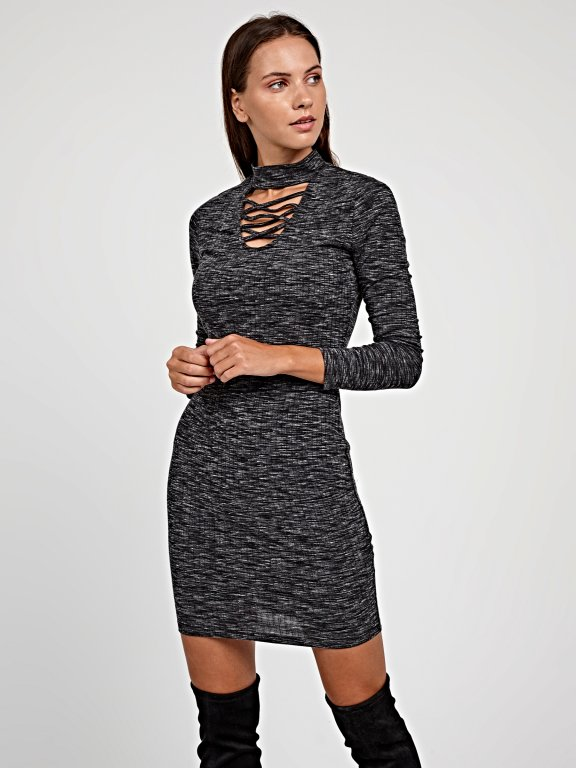 LACE-UP BODYCON DRESS WITH CHOKER COLLAR