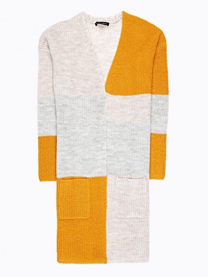 Longline colour block cardigan