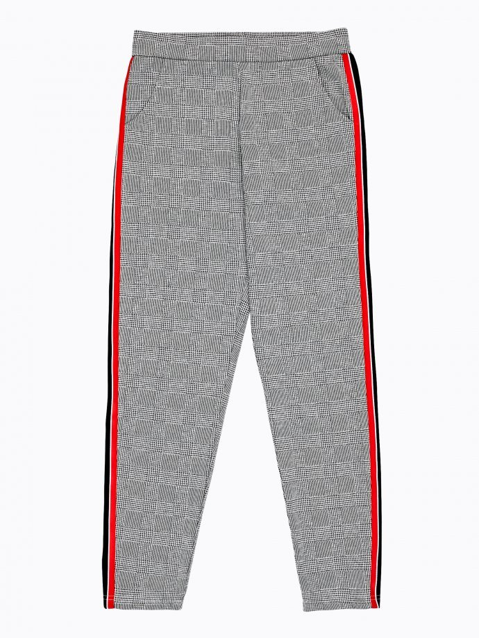 Plaid trousers with side tape