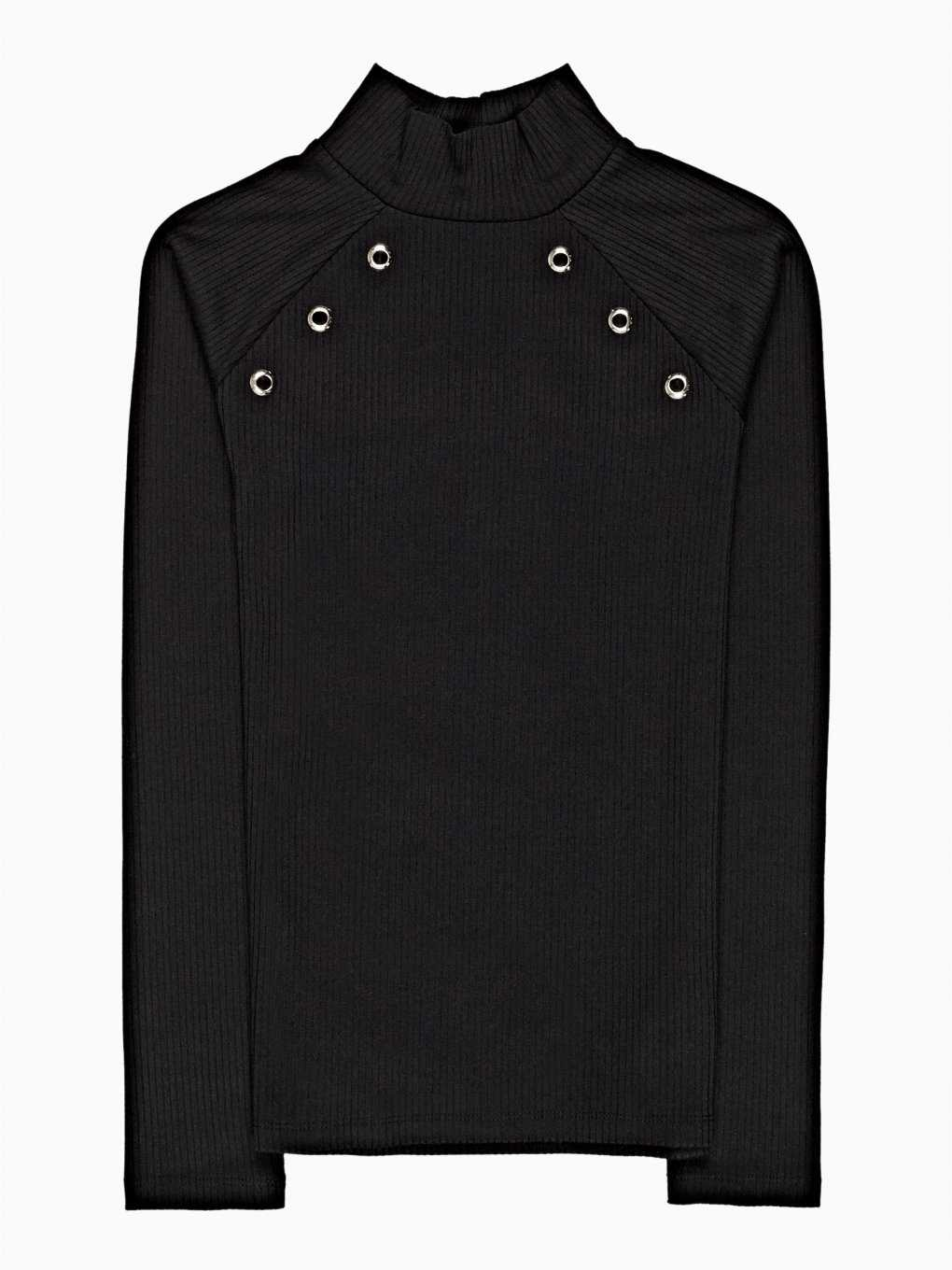 HIGH NECK TOP WITH METAL EYELETS