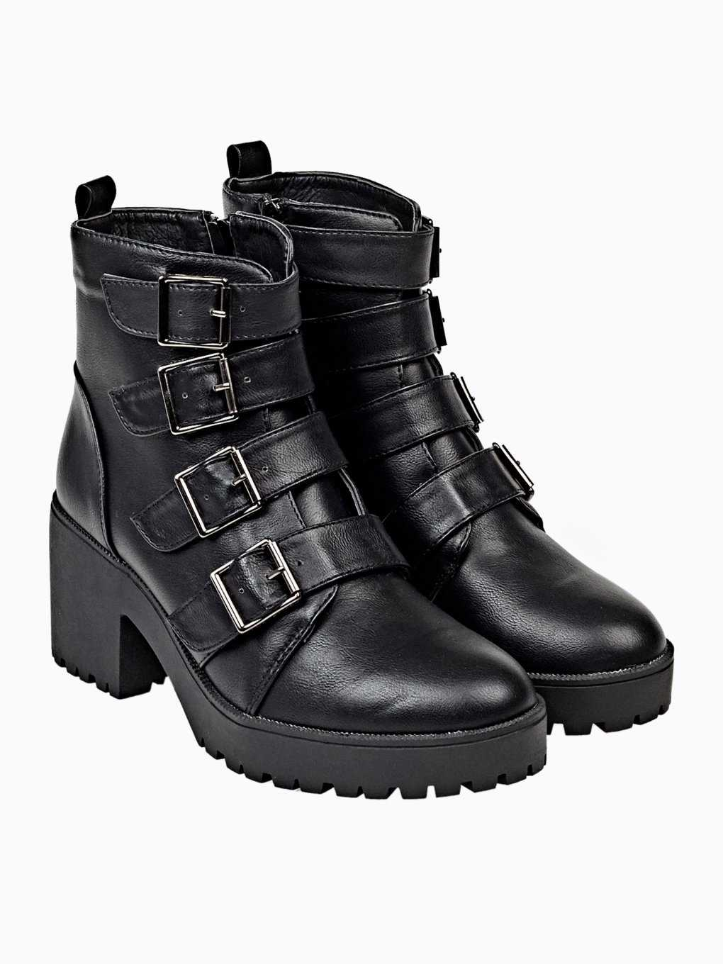 Biker boots with track sole