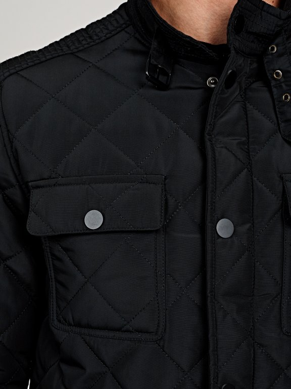 Quilted light padded jacket with stand up collar